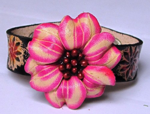 Flower Pink/White On Black Band All Hand Worked Leather Bracelet - Adjustable Size