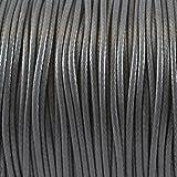 3m Wachsband Wachsschnur 1mm dunkelgrau Schnur aus Baumwolle -1283
