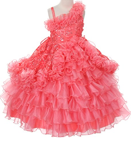 One Shoulder Corset Princess Flowers Girls Dress With Ruffle Organza Skirt Prom Coral 2-10 front-1080539