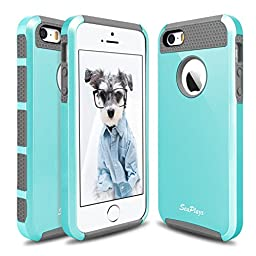 Hinpia [Seaplays] Case for Apple iPhone 5 5S SE Dual Layer Ultra Slim Bumper Cover Rugged Hybrid Shock-Absorption and Anti-Scratch Protective -Mint/Gray