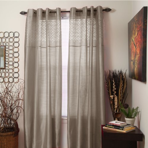 47 X 38 Garnet Stylemaster Home Products Stylemaster Haley Printed Sheer Waterfall Valance