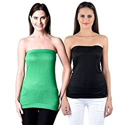 NumBrave Womens Green, Black Tube Top (Combo of 2)