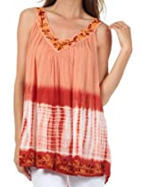 Sakkas 725 Ombre Tie Dye Gauzy Crepe Sleeveless Relaxed Fit Top / Blouse - Rust / One Size