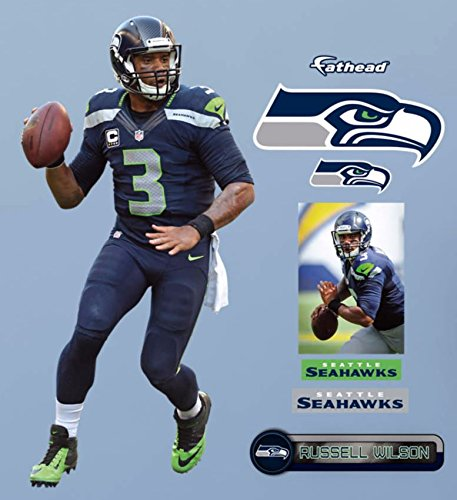 Russell-Wilson-FATHEAD-Set-of-4-Graphics-Seattle-Seahawks-Logo-Vinyl-Wall-Graphics-17-INCH-SHEET