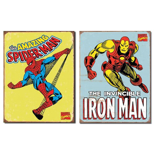 Nostalgic Superhero Tin Metal Sign Bundle   2 comic book hero signs Spider Man Retro & Iron Man Retro 0110