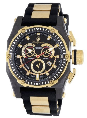 Burgmeister Men's Quartz Watch with Black Dial Chronograph Display and Black Silicone Strap BM157-622B