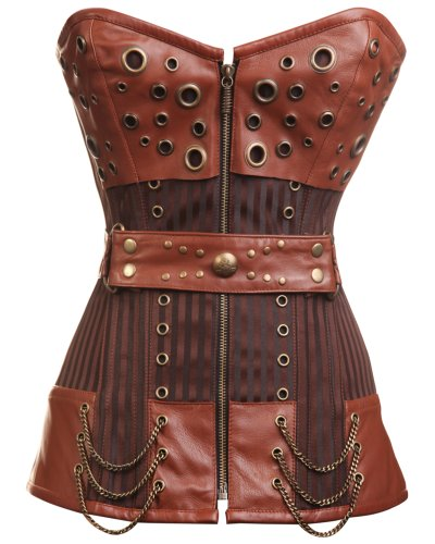 CD-234 - Striped Steampunk Corset with Waist Belt and Chain and Ring Detailing - 26