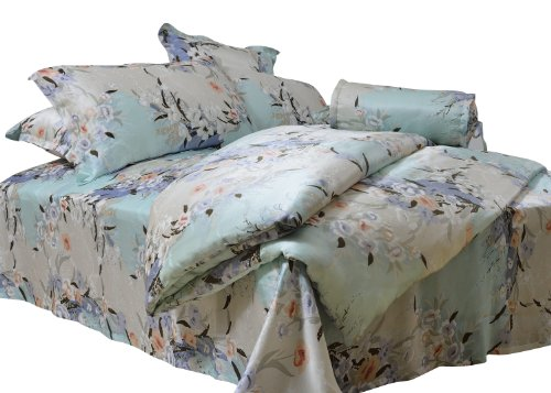 Coloursilk 100% Silk Duvet Cover Light Green Printed Light Gray Flower Pattern: 2-004
