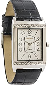 Daniel David Women's | Crystal Accented Textured Black Leather Silver Watch | DD13001