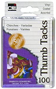 Charles Leonard Thumb Tacks - Reusable Box - Vinyl Coated - Assorted Colors - 100/Box, 79911