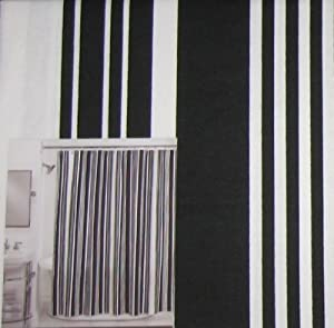 Black And White Stripes Cotton Shower Curtain Nolita Stripe
