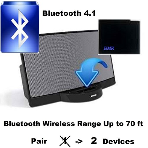 BMR A2DP Bluetooth Adapter Bluetooth Music Receiver Adapter for Bose Apple 30 Pin SoundDock Speaker- Bluetooth 4.1 Extra Long Wireless Range Up To 70 ft; for iPhone, Samsung, Nokia, HTC, LG, Motorola (Long Range Wireless Speakers compare prices)