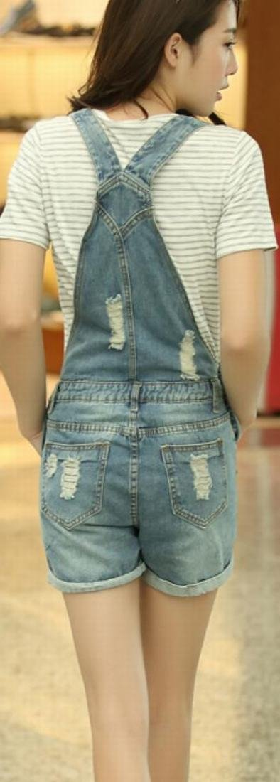 ASL Women Fashion Casual Denim Holes Vintage Overall 3