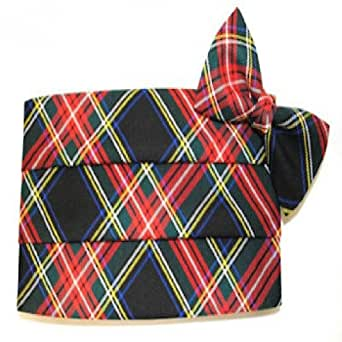 Christmas Black and Red Plaid Cummerbund and Bow Tie at
