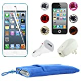 Skque 5 Inch Blue Soft Sleeve Cloth Pouch Velvet Case + Clear Screen Protector Film + USB 1000mAh Home/Travel Wall Charger + Rapid Car Charger + 6 Pcs Bling Diamond Crystal Style Home Button Sticker for Apple iPod Touch 5th Generation