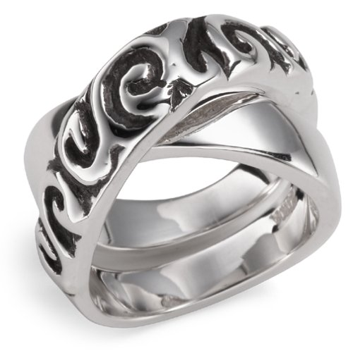 Sterling Silver Crossover Ring from The Swirl Collection by Zina