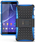 Heartly Flip Kick Stand Spider Hard Dual Armor Hybrid Bumper Back Case Cover For Sony Xperia Z3 - Power Blue