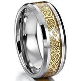 MOWOM シルバー ゴールド 金 タングステン リング 指輪 バンド アイルランドのケルト族の結び目 ドラゴン 龍 竜 結婚式 サイズ 6