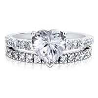 Sterling Silver 925 Heart CZ Cubic Zirconia 2pc Solitaire Ring Set