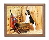 Hunting Dog Shotgun Cabin Animal Home Decor Wall Picture Oak Framed Art Print