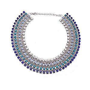Girl Era Full Crystal Choker Necklaces Luxury Fashion Jewelry Statement Necklace(blue)