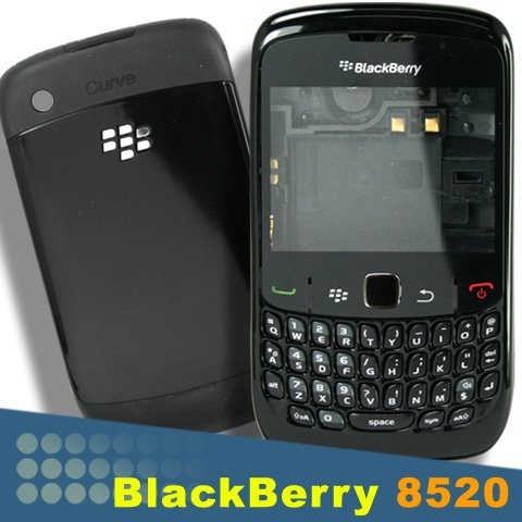 BLACK ORIGINAL GENUINE OEM BLACKBERRY CURVE 8520 FULL HOUSING COVERREPAIR