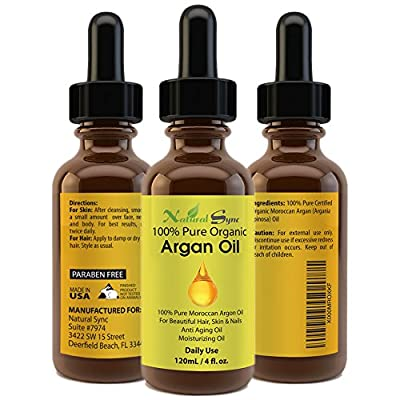Moroccan Argan Oil - 100% Pure & Organic - For Hair, Skin, Face & Nails - Anti Aging, Anti Wrinkle, a Potent Antioxidant Oil with Free Radical Protection - 60 Day Guarantee - Best Hair Treatment - Amazing Exfoliating Lip Scrub and Face Moisturizer - Preve