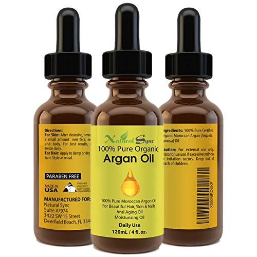 Moroccan Argan Oil - 100% Pure & Organic - For Hair, Skin, Face & Nails - Anti Aging, Anti Wrinkle, a Potent Antioxidant Oil with Free Radical Protection - 60 Day Guarantee - Best Hair Treatment - Amazing Exfoliating Lip Scrub and Face Moisturizer - Prevents Split Ends and Controls Frizzy Hair - Rebuilds Damaged Hair & Produces Hair Styling Shine - Best Healing Properties For Skin - One Of Natures Most Powerful Natural Oils.