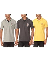 Solid Polo T-shirt Grey Melange ,dark Grey ,Yellow Pack Of 3