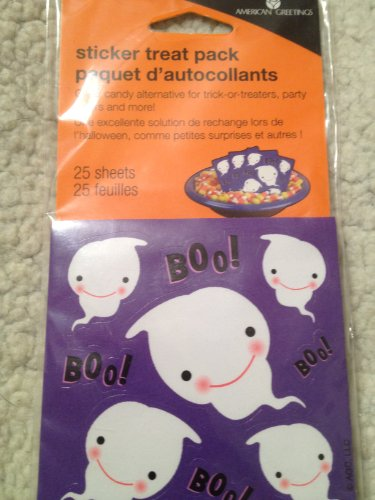 American Greetings Sticker Treat Pack HALLOWEEN BOO OR SPOOKY(asst.)- 25 Sheets Per Package - 1