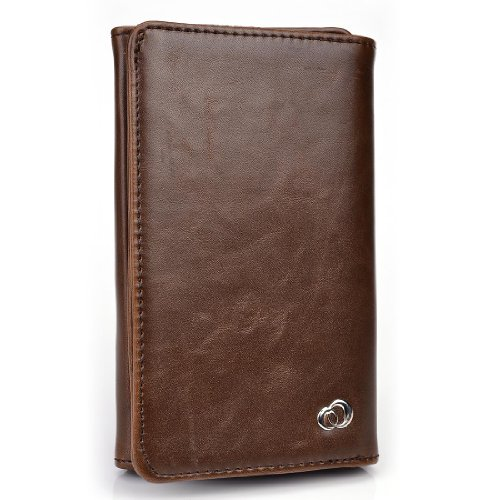 Dark Brown Universal Mens Wallet phone cover case fits Samsung Galaxy S Blaze 4G T769 NuVur Key Chain SMENBIN1