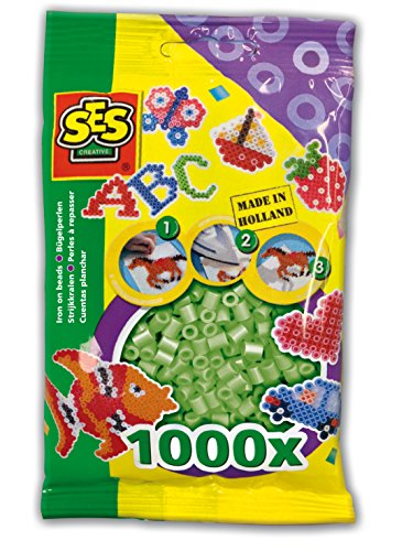 SES Creative Iron On Beads, Light Green, 1000-Pack