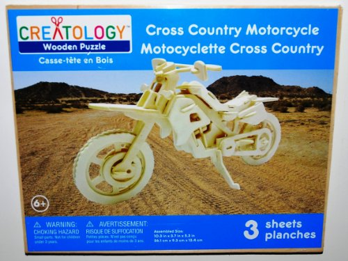 Creatology Wooden 3D Puzzle, Cross Country Motorcycle, 10.3 Inches Long (1 Each)