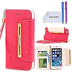 iPhone 5 Case, ACO-UINT [Grid Pattern] Deluxe PU Leather Wallet Pouch Case with Wrist Strap for iPhone 5 5S with Two Stylus Pens/2 Screen Protector/ACO-UINT Microfiber Cleaning Cloth Included (hot pink)