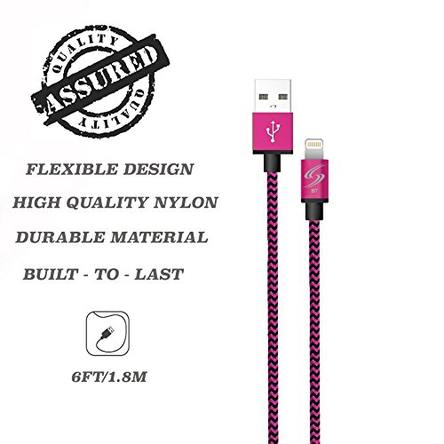 StyleTech Inc. Aluminum Nylon Braided Series 6 Feet 8 Pin Lightning Syncing/Charging Data Cable for iPhone 6s/6/5/5s/SE/Plus iPad Mini/Air/Pro (1.) Pink)