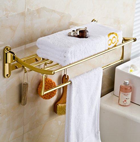 rozinsanitary gold finish bathroom folding towel rack wall mounted clothes towel ebay