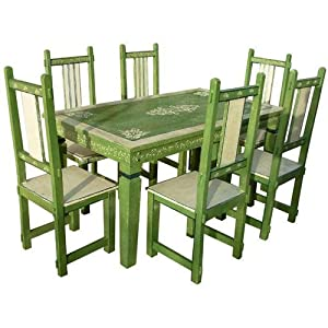 Amazon 7pc Solid Wood Green Distressed Kitchen Dining