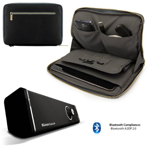 Faux Leather Carrying Bag Sleeve Case For Google Nexus 10 By Asus (2014 Model) + 10Hr Bluetooth Speaker Boombox With Subwoofer