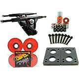 Longboard 180mm Trucks + 70mm Wheels + Bearings Combo (Gel Red)