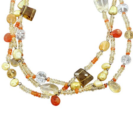 925 Sterling Silver Carnelian Fresh Water Pearl Citrine White Topaz Gemstone Beads 3 Strand Necklace with Lobster Closer Handmade Jewelry 18