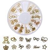 ネイルパーツ 薄型埋め込み用 メタルパーツ 12種類セット (ベア 星など) ゴールド