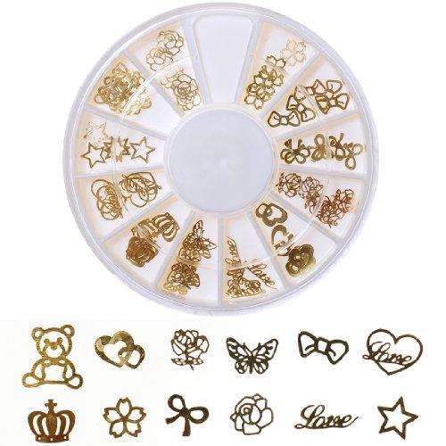 ネイルパーツ 薄型埋め込み用 メタルパーツ 12種類セット ゴールド