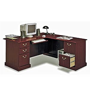 Bush Furniture Saratoga L-Shape Wood Executive Desk in Harvest Cherry