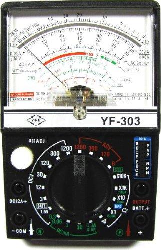 Multímetro analógico modelo YF-303. Multímetro analógico que permite comprobar ACV, DCV, DCA, resistencia y con salida AF (dB). Dispone de un visor con una escala analógica de fácil visualización