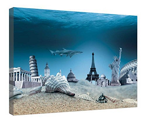 iRocket Canvas Prints Wall Art - Underwater World - Wood Board Background Stretched Canvas Wrap Ready To Hang For Home And Office Decoration - 20