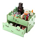 Kobwa(TM) Light Green Multi Compartments Mini Sleep Soundly Desktop Drawer Box Organizer Wood DIY Desk Storage with Kobwa's Keyring
