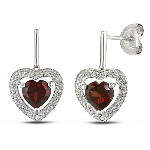 Sterling Silver 1 1/2 CT TGW Garnet 0.01 CT TDW Diamond Heart Earrings (G-H, I3)