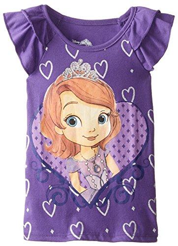 Disney Little Girls' Sofia The First Two-Tier Flutter Sleeve Top, Grape, 3T