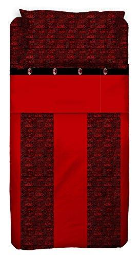 Milan Milan Completo Letto, Cotone, Rosso/Nero, 240 x 295 cm/180 x 200 cm/52 x 80 cm
