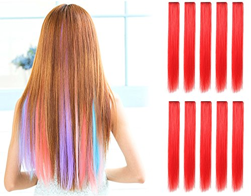 OneDor 23 Inch Straight Colored Party Highlight Clip on in Hair Extensions Multiple Colors (10 Pcs Red) (Highlight Extensions Clip compare prices)